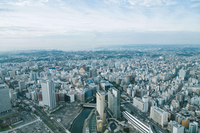 ランドマークタワーから見た横浜の景色の画像