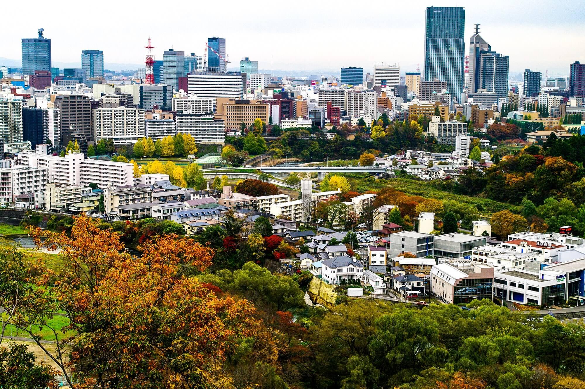 仙台城跡から見た仙台市の画像